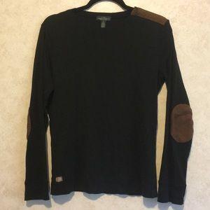 Ralph Lauren patch sleeve zipper down neck blouse